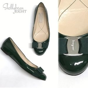 SAL FERRAGAMO Green VARINA Bow Logo Ballet Flats 6